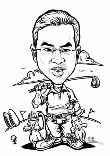 Golfer caricature with 2 cats