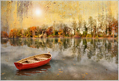 Double sight (Jean-Michel Priaux) Tags: trees orange lake france tree texture nature water forest photoshop painting landscape boat fishing nikon niceshot calm reflet reflect alsace promenade paysage fort barque savage fret wow1 ried d90 priaux kogenheim mygearandme