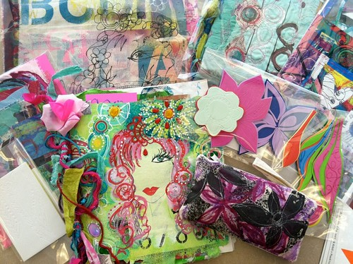 handmade orders..art journals, collage kits and handmade stamps