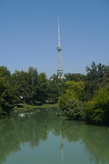 Great view of one of the canals and Tashkent TV Tower
