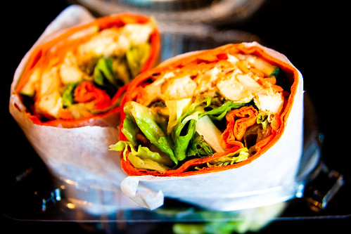 Pure Cafe's Thai Chicken Wrap at Coffee Buddha