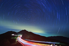 The Night Trails (samyaoo) Tags: park longexposure light sunset sea mist tree car fog night clouds stars nationalpark taiwan  national    tarokonationalpark nantou    startrail    hehuanshan       hehuanmountains