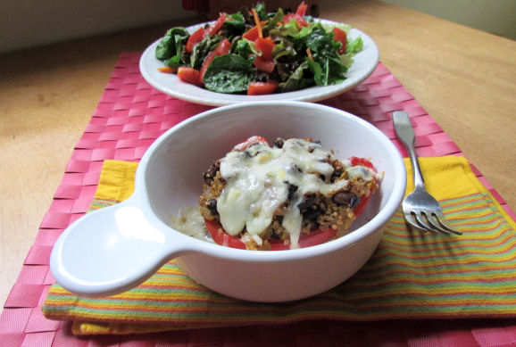 Quinoa and Black Bean Stuffed Red Peppers