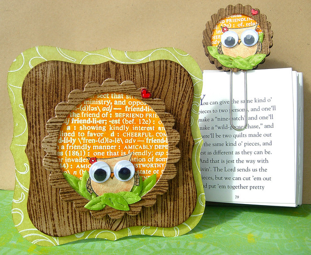 Owl book gift card holder & book mark