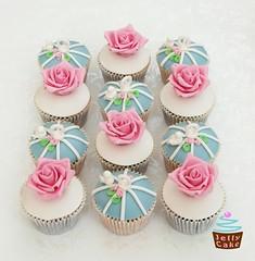 Rose and Bird Cage Cupcakes (www.jellycake.co.uk) Tags: pink blue wedding bird rose cake zoe cupcakes cage sugar clark wiltshire jellycake wwwjellycakecouk