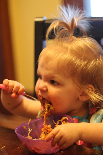 Annie eating Mexican Spaghetti
