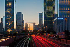 La Defense - Paris (romvi) Tags: longexposure sunset motion paris france tower cars seine train buildings subway de atardecer la nikon highway europe tramonto tour skyscrapers metro perspective ladefense voiture rails pont sur lighttrails autoroute defense 92 offices neuilly couchdesoleil grandearche arche autostrada fil bureaux gratteciel batiments hautsdeseine pontdeneuilly longuepause d700 romainvilla tourfirst romvi