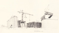 Gromarkthalle (Flaf) Tags: pencil site am construction martin drawing frankfurt main baustelle coop das florian neue umbau freie himmelblau ezb zentralbank elsaesser europische afflerbach zeichnerei