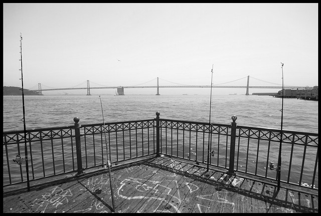 fishing rods over the bay bridge