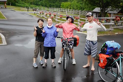 The cycling troupe at Makkari Camping Ground, Hokkaido, Japan