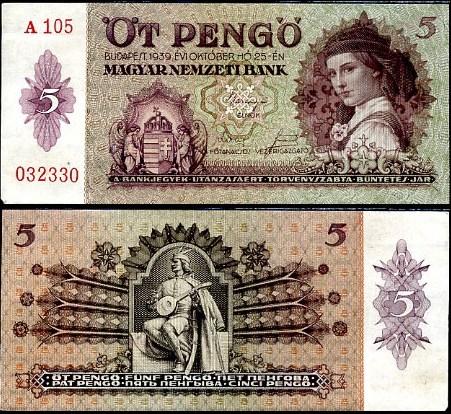 5 Pengő Maďarsko 1939, Pick 106