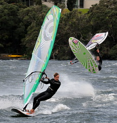 Flying spray (Mike Brebner) Tags: winter newzealand lake sports water sport digital photography coast photo image wind photos action windy august images auckland coastal northshore nz windsurfing leisure activity thrills windsurfer thrill takapuna activities sailboard windsurfers windsurf watersport sailboarding 2011 thrilling pupuke cmikebrebner c2011mikebrebner c2011mikebrebnerallrightsreserved