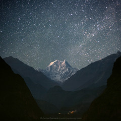 NILGIRI SOUTH (6839 m) (Anton Jankovoy (www.jankovoy.com)) Tags: nepal sky mountains night dark stars lights kali peak hills mount valley himalaya nilgiri    gandaki geoge
