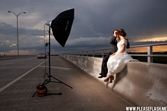 BTS Strobist (Brian Storey | www.pleaseflash.me) Tags: lighting bridge wedding sunset gear equipment bridal bts octo vagabond alienbees pocketwizard strobist octobox ab1600