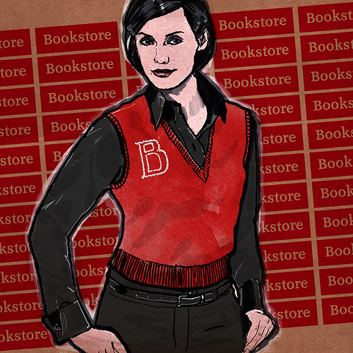 Bookstore Sales Woman In Red Sleeveless Sweater