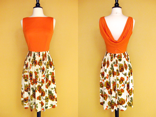 orange rose draped back dress