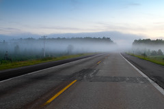 Fog on a deserted Michigan highway (Christopher Brian's Photography) Tags: sunset usa fog highway michigan canonef2470mmf28lusm canoneos7d