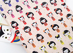 kokeshi pattern paper (sanpodoh) Tags: color japan illustration paper toy japanese design graphicdesign colorful pattern kawaii package kokeshi zakka