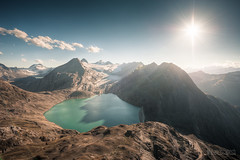 ~ Gries lake and glacier: sunset ~ (dmkdmkdmk) Tags: lake mountains alps nature landscape switzerland nikon swiss pass glacier hdr gries nufenen d700 nufenenstock griesseegriessgletschernufenenpassgriesspass