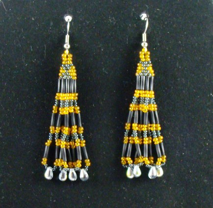 Grey and Gold Hourglass Beaded Earrings