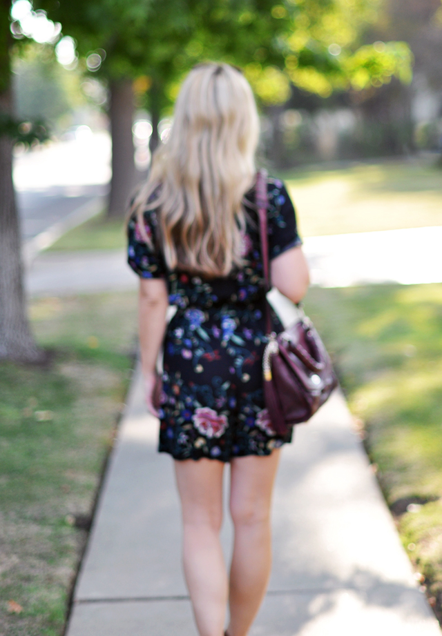 back of hair+floral romper+blurred
