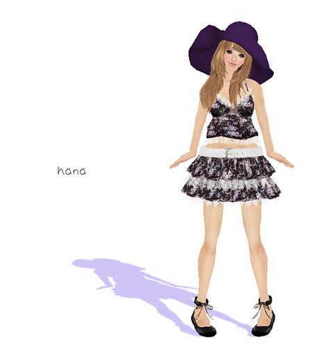 ***Ambrosia***camisole&skirt[rose violet_black]