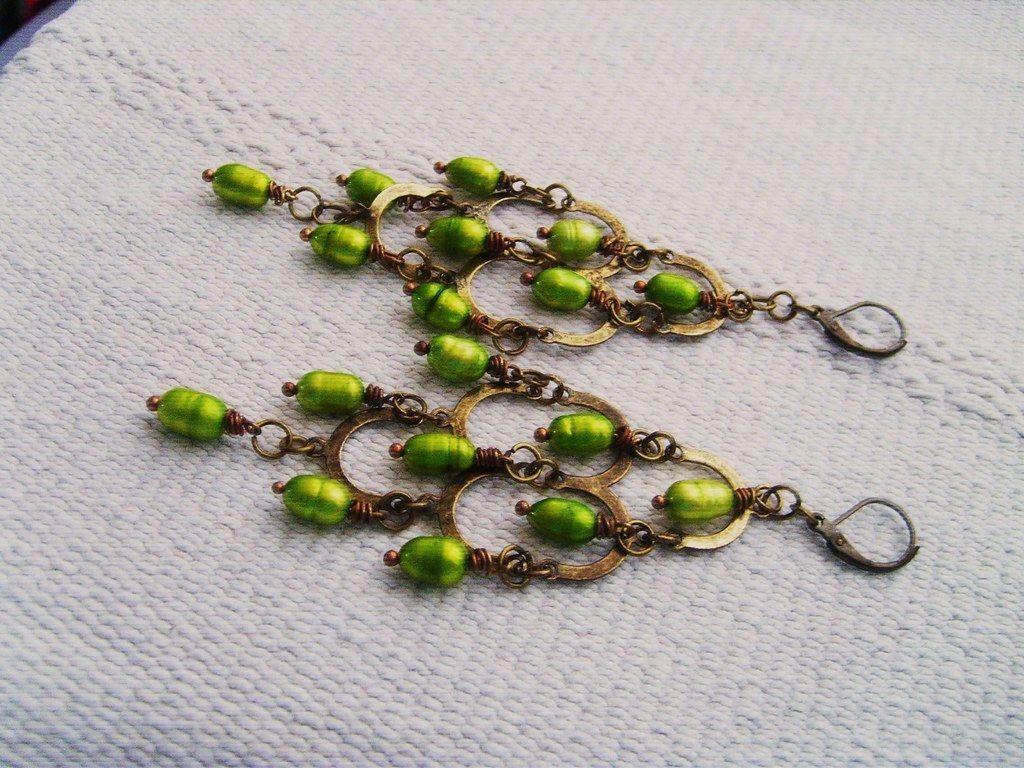FW Pearl Chandelier Earrings~Lime Green~Aug 2011 008