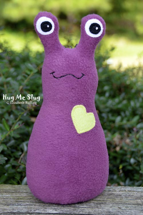 Magenta-purple fleece Hug Me Slug by Elizabeth Ruffing