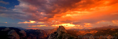 Glacier Point Sunset, Yosemite  July 30, 2011 (Robert Pearce Photography) Tags: light sunset red storm rain clouds gold nationalpark nikon pano panoramic sierra yosemite halfdome 31 magichour glacierpoint yosemitevalley californialandscape tenayacanyon alpineglow nikond200 singhray robertpearce robertpearcephotography