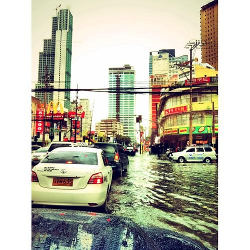 Makati Ave on a rainy Sunday