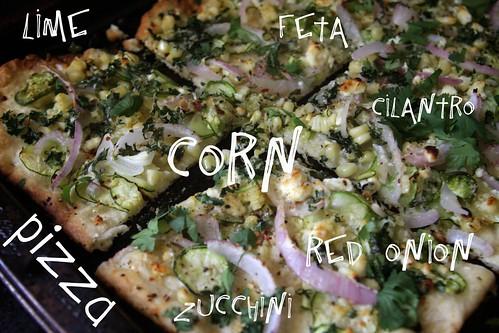 corn zucchini lime pizza