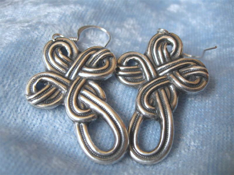 Celtic Cross Earrings Antiqued Silver Metal