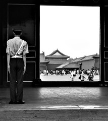 Standing Guard (Aaron Webb) Tags: china blackandwhite bw soldier army beijing   forbiddencity cge pla peoplesliberationarmy china5 chinasoldier googlemaybe
