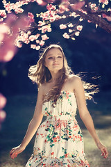 A nous les amours et les roses (AnnuskA  - AnnA Theodora) Tags: light portrait girl beautiful face lady hair happy colorful long dress bokeh gorgeous curly spinning brazilian sakura cherryblossoms reallycutemakeuptoo