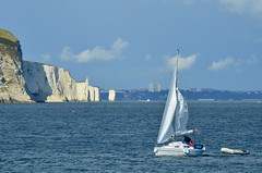 Yacht in front of the Pinnacles and Old Harry in Swanage Bay (danthorpephotography) Tags: sea coast boat sailing yacht needles swanage pinnacles oldharry oldharryrocks swanagebay yachtsailing swanageboat swanagebayboat swanageyacht oldharryyacht