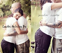 sweet love♥ (Suzette Photography) Tags: park woman man art love water smile collage tattoo portraits happy pond hug couple emotion artistry squeese