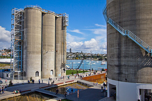 The old concrete storage silos