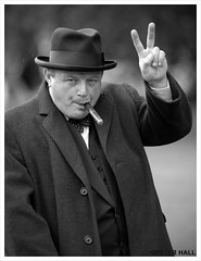 Victory (peterphotographic) Tags: uk portrait england blackandwhite bw nikon britain candid victory winstonchurchill actor d200 winnie essex reenactment primeminister worldwar2 audleyend vforvictory blackwhitephotos
