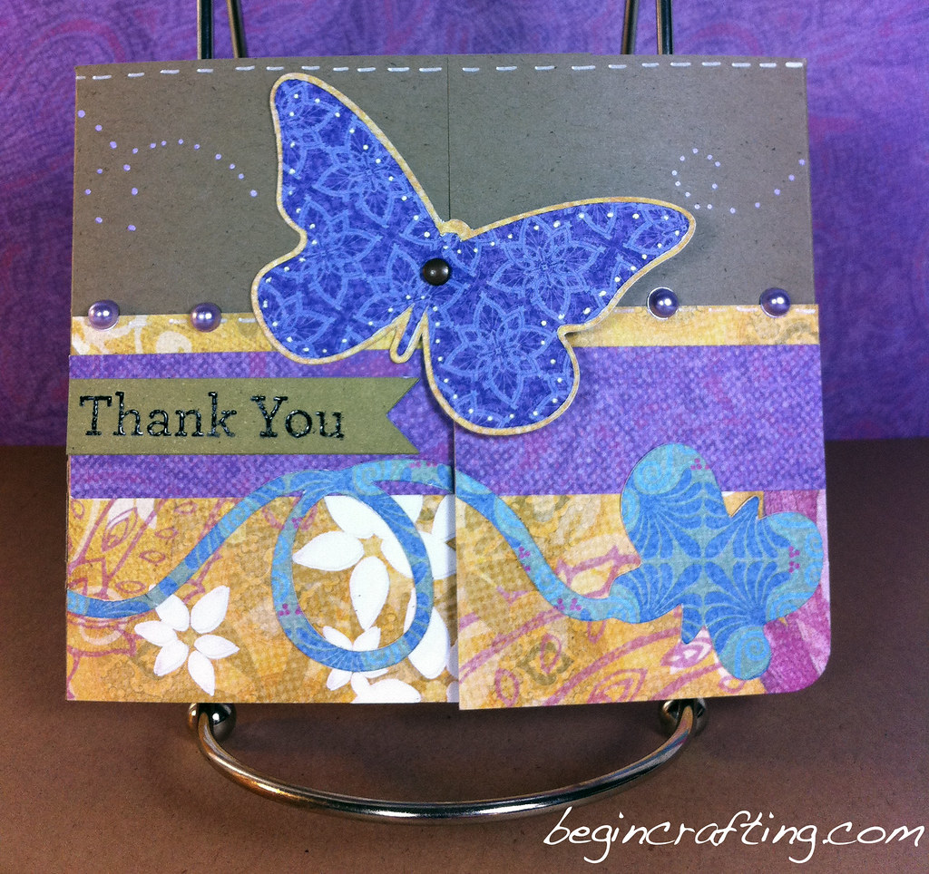 Handmade Thank You Butterfly Card