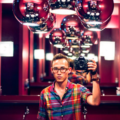 Self Portrait (TGKW) Tags: camera red portrait people reflection shirt self bathroom lights hotel mirror nikon edinburgh photographer toilet tommy walls wan missoni 2232 gaken tgkw