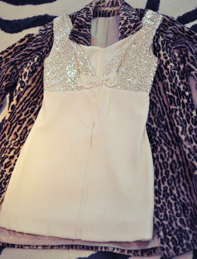 60's wedding reception dress and leopard coat