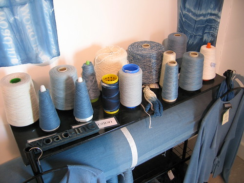 Woad dyed yarns and fabric