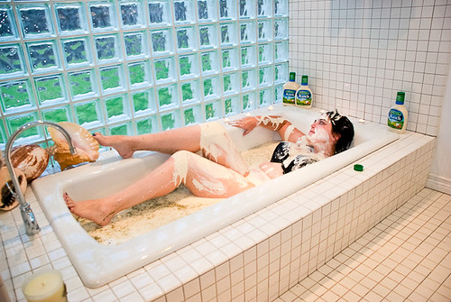 Nancy in a bathtub full of ranch dressing