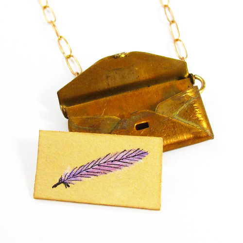 Loved Letter Envelope Locket With Violet Feather Drawing1