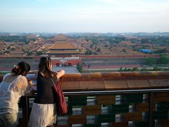 Overlooking the Forbidden City (weizor) Tags: china park girls sky orange yellow museum architecture clouds cn portraits lumix asia cityscape cloudy beijing panasonic roofs forbiddencity jingshanpark palaces jingshan palacemuseum micro43 microfourthirds 20mmf17asph dmcg3