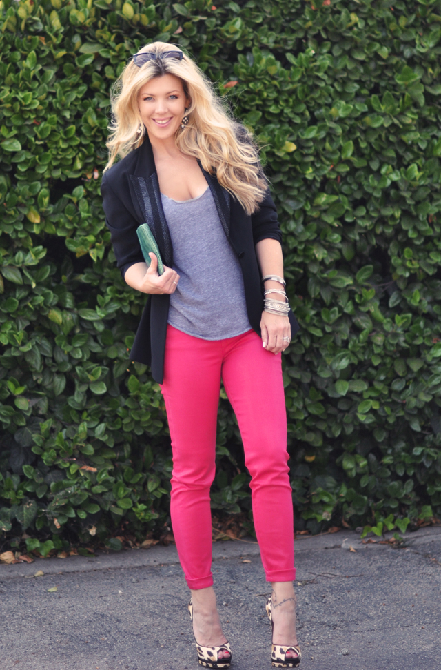 J Brand Shocking Pink Jeans   for  FNO 2011 and leopard shoes and blazer