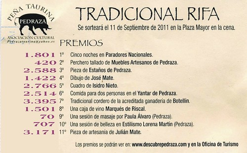 Números premiados rifa 2011 Peña Taurina
