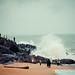 Waves dashing against rocks