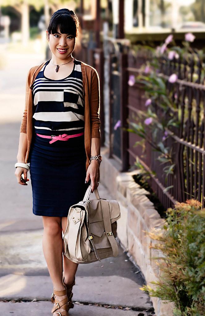 gap ochre ribbed cardigan, forever 21 graduated stripes tank, agaci hot pink skinny belt, express navy banded skirt, boutique 9 keeva, handbag heaven veronique, mk5430