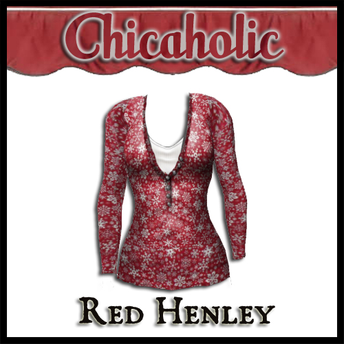 Chicaholic Red Henley Long Sleeve T Shirt by Shabby Chics